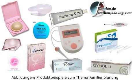 Fotomonotage verschiedenster Familienplanungs-Produkte